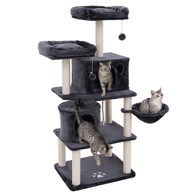 feandrea Arbre à Chat Colonne en sisal, Panier et 2 niches, Tour à Chat pour Chats PCT90G - Beewik-Shop.com