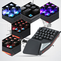 One-Handed Game Keyboard - 29 Keys, RGB Backlit, Soft Palm Rest, Metal Body, Plug And Play, Works With All Major OS - Beewik-Shop.com