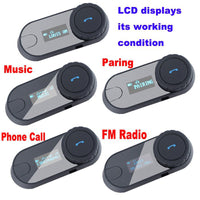 Motorcycle Intercom - 800m Range, LCD Display, FM Radio, Bluetooth, Handsfree Calls, GPS Connect, HiFi Earphones, 400mAh - Beewik-Shop.com