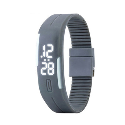 Bracelet Digital Sports Horloge grise Candy Color mâle Famille Montre bracelet silicone LED enfants, Montres Date - Beewik-Shop.com