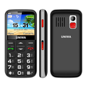 UNIWA 3G mobile phone with big keys - FM radio 3 MP camera, flashlight, 1400 mAh battery,  2.3 inches