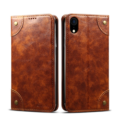 Simple baroque Flip Case horizontal en cuir, avec support et carte Machines à sous et porte-monnaie (Marron clair) - Beewik-Shop.com