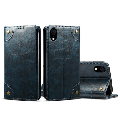 Simple baroque Flip Case horizontal en cuir, avec support et carte Machines à sous et porte-monnaie (Bleu) - Beewik-Shop.com