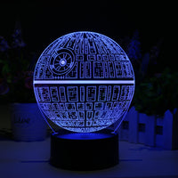 Star Wars Death Star 3D LED Lamp - Holographic Lamp, 2 Light Modes, 7 Colors, Powered USB or AA Battery - Beewik-Shop.com