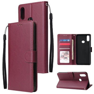 Couverture et Coque de téléphone portable Pour Samsung A10S A20S, Boucle/Fermeture/Cartes Fentes PU Cuir Smart Shell avec portefeuille Protection globale Rouge vin - Beewik-Shop.com