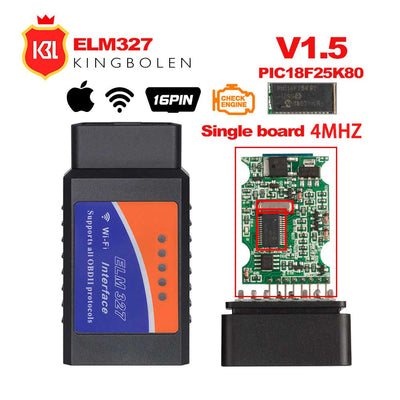 ELM327 V1.5 Bluetooth/Wifi OBD2 V1.5 orme 327 Bluetooth PIC18F25K80 puce OBD outil de Diagnostic automatique OBDII pour Android/IOS/Windows