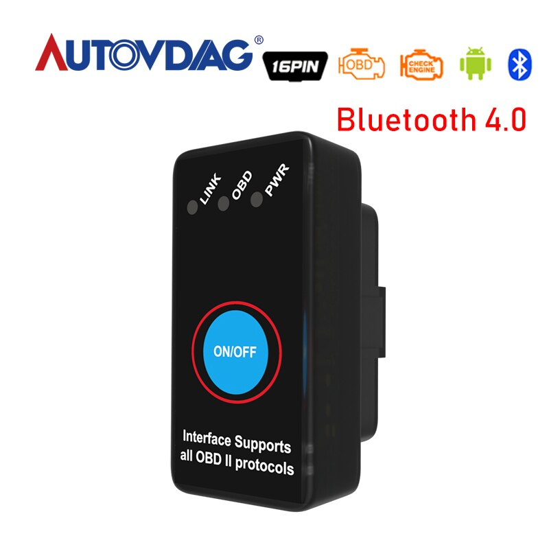Elm327 Bluetooth 4.0 Obd2 Version V1.5 ELM 327 Obd 2 commutateur ELM327 BT Obdii Support Smartphone et PC voiture Diagnostic HHOBD