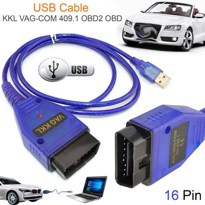 Câble d'interface de voiture USB vag-com KKL VAG-COM 409.1 OBD2 OBDII 16 broches Scanner de Diagnostic câble automatique Aux (blue) - Beewik-Shop.com