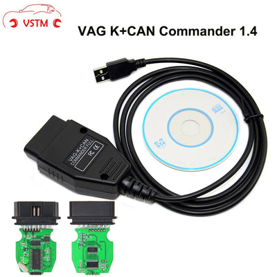 VSTM VAG K + peut Commander 1.4 avec FTDI FT232RL PIC18F258 puce OBD2 câble d'interface de Diagnostic Com - Beewik-Shop.com