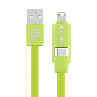 HAWEEL 2 in 1 Micro USB & 8 Pin to USB Data Sync Charge Cable for iPhone, Galaxy,  Huawei, Xiaomi, LG, HTC and other smart phones, Length: 1m(Green) - Beewik-Shop.com