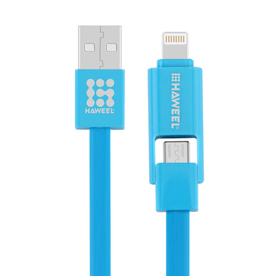 HAWEEL 2 in 1 Micro USB & 8 Pin to USB Data Sync Charge Cable for iPhone, Galaxy,  Huawei, Xiaomi, LG, HTC and other smart phones, Length: 1m(Blue) - Beewik-Shop.com