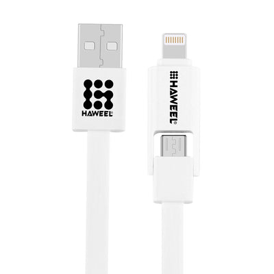 HAWEEL 2 in 1 Micro USB & 8 Pin to USB Data Sync Charge Cable for iPhone, Galaxy,  Huawei, Xiaomi, LG, HTC and other smart phones, Length: 1m(White) - Beewik-Shop.com