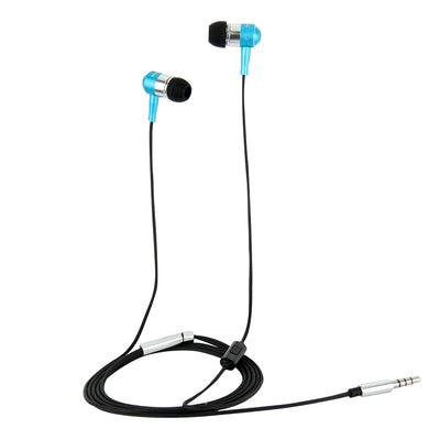 HAWEEL 3.5mm Jack Metal Head In-ear Pure Voice Earphones with Mic & Line Control, For iPhone, Galaxy, Huawei, Xiaomi, LG, HTC and Other Smart Phones(Blue) - Beewik-Shop.com
