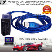 OBD2 USB Vag-Com câble d'interface KKL VAG-COM 409.1 OBD2 II OBD Scanner de Diagnostic câble automatique Aux USB Vag-Com câble d'interface - Beewik-Shop.com