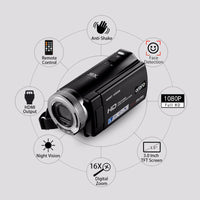 Ordro V12 Digital Video Camera - 1/4-Inch CMOS, 1080p Video, 20MP Pictures, 1000mAh, 16x Zoom, 3-Inch Display - Beewik-Shop.com
