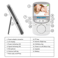 Video Baby Monitor - Two Way Audio, 2.4 Inch Display, Room Temperature Monitor, Night Vision, 70 Degree Lens - Beewik-Shop.com