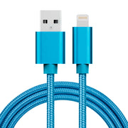 1m 3A Woven Style Metal Head 8 Pin to USB Data / Charger Cable, For iPhone X / iPhone 8 & 8 Plus / iPhone 7 & 7 Plus / iPhone 6 & 6s & 6 Plus & 6s Plus / iPad(Blue) - Beewik-Shop.com