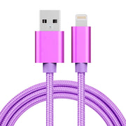 1m 3A Woven Style Metal Head 8 Pin to USB Data / Charger Cable, For iPhone X / iPhone 8 & 8 Plus / iPhone 7 & 7 Plus / iPhone 6 & 6s & 6 Plus & 6s Plus / iPad(Purple) - Beewik-Shop.com