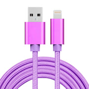2m 3A Woven Style Metal Head 8 Pin to USB Data / Charger Cable, For iPhone X / iPhone 8 & 8 Plus / iPhone 7 & 7 Plus / iPhone 6 & 6s & 6 Plus & 6s Plus / iPad(Purple) - Beewik-Shop.com
