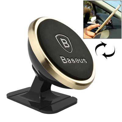 Baseus 360 Degree Rotatable Universal Magnetic Mount Holder with Sticker, For iPhone, Galaxy, Huawei, Xiaomi, LG, HTC and Other Smart Phones(Gold) - Beewik-Shop.com