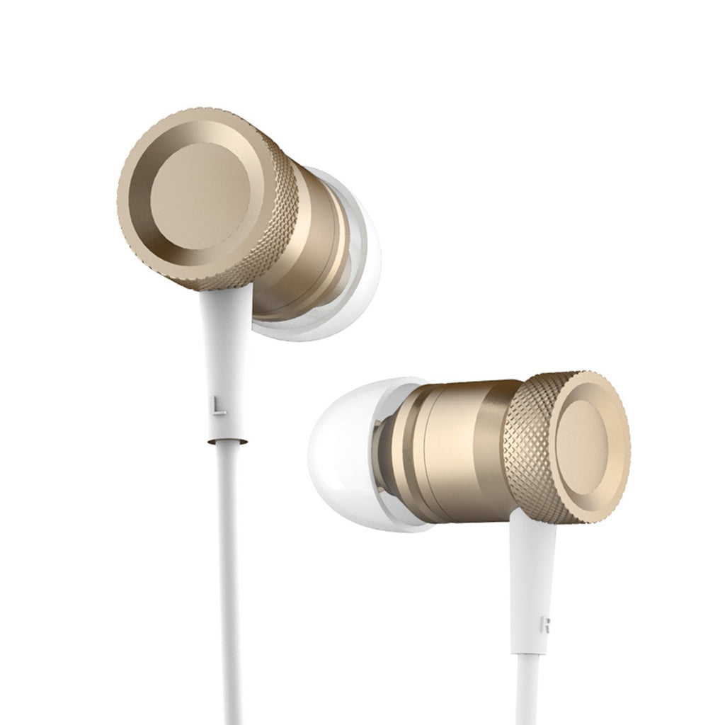 ROCK Mula In-Ear Stereo Bass Wired Aluminum Alloy Earphone With Remote and Mic, For iPhone, iPad, iPod, Xiaomi, Samsung, Huawei and Other Smartphones with 3.5mm Earphone Port(Gold) - Beewik-Shop