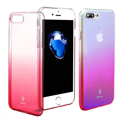 Baseus for iPhone 8 Plus & 7 Plus   Glaze PC Gradient Color Protective Case(Pink) - Beewik-Shop.com