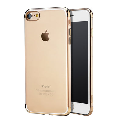 Baseus for  iPhone 8 & 7  Electroplating Soft Transparent TPU Protective Back Cover Case(Gold) - Beewik-Shop.com