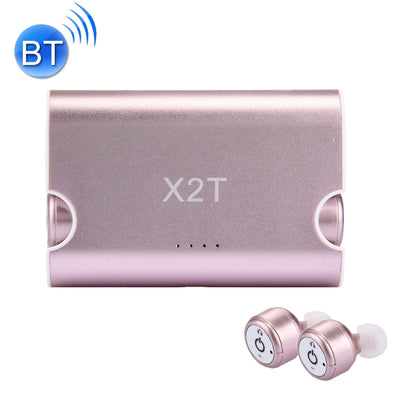 X2T Universal Wireless Bluetooth Binaural Stereo Earphones Mini Isolation In-Ear Earphones with Charging Box, For iPad, iPhone, Galaxy, Huawei, Xiaomi, LG, HTC and Other Smart Phones(Rose Gold) - Beewik-Shop.com