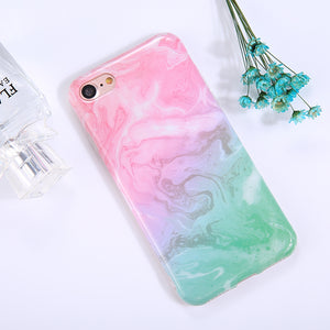 For iPhone 8 & 7 Pink Green Marble Pattern TPU Full Coverage Shockproof Protective Back Cover Case - Beewik-Shop