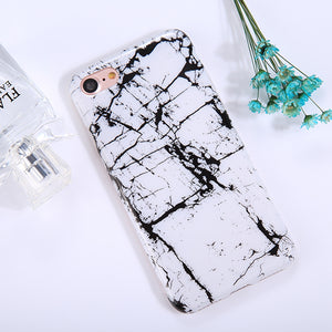 For iPhone 8 & 7 Black White Marble Pattern TPU Full Coverage Shockproof Protective Back Cover Case - Beewik-Shop