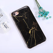 For iPhone 8 & 7 Black Marble Pattern TPU Full Coverage Shockproof Protective Back Cover Case - Beewik-Shop