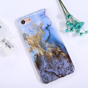 For iPhone 8 & 7 Blue Marble Pattern TPU Full Coverage Shockproof Protective Back Cover Case - Beewik-Shop