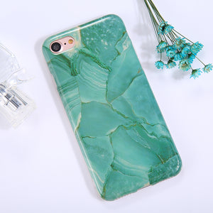 For iPhone 8 & 7 Green Marble Pattern TPU Full Coverage Shockproof Protective Back Cover Case - Beewik-Shop