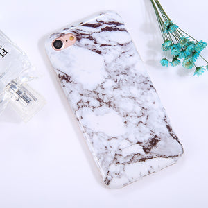 For iPhone 8 & 7 Ink Marble Pattern TPU Full Coverage Shockproof Protective Back Cover Case - Beewik-Shop