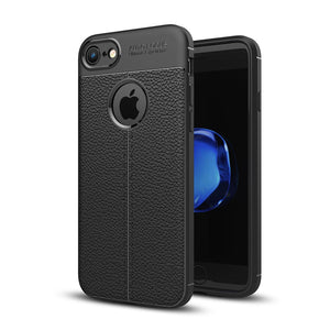 For iPhone 8 & 7 Litchi Texture TPU Protective Back Cover Case (Black) - Beewik-Shop
