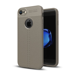 For iPhone 8 & 7 Litchi Texture TPU Protective Back Cover Case (Grey) - Beewik-Shop