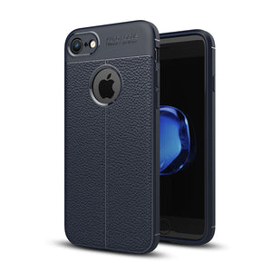 For iPhone 8 & 7 Litchi Texture TPU Protective Back Cover Case (navy) - Beewik-Shop