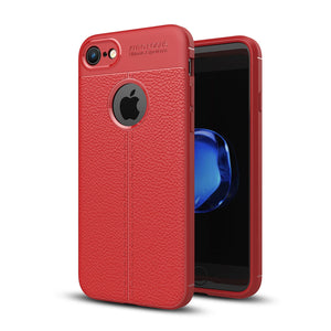 For iPhone 8 & 7 Litchi Texture TPU Protective Back Cover Case (Red) - Beewik-Shop