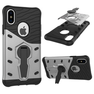 Cover in TPU ibrida antiurto a 360 gradi Spin Sniper per iPhone X (argento) - Beewik-Shop.com