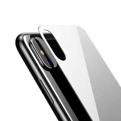 Baseus for iPhone X 9H Hardness 3D Silk-screen Anti-scratch Tempered Glass Back Screen Film(White) - Beewik-Shop.com