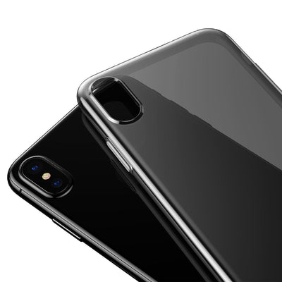 Baseus Simple Series for iPhone X Soft Transparent TPU Protective Back Cover Case(Black White) - Beewik-Shop.com