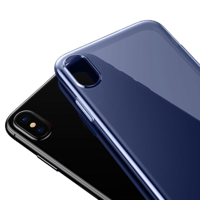 Baseus Simple Series for iPhone X Soft Transparent TPU Protective Back Cover Case(Blue) - Beewik-Shop.com