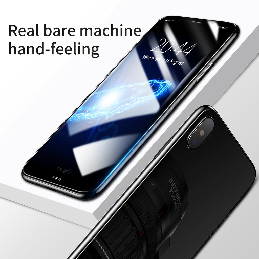 the latest 99048 36e66 Baseus for iPhone X Anti-scratch 2 in 1 0.2mm Front + 0.3mm Back Tempered  Glass Film Screen Protector(White)