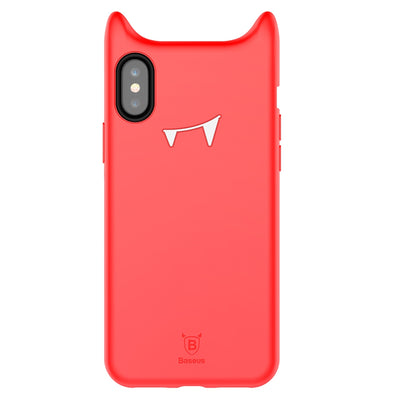 Baseus for iPhone X Soft Silicone Evil Printed Protective Cover Back Case(Red) - Beewik-Shop.com