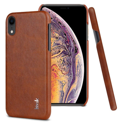 Series de IMAK Ruiyi Coque Concise mince en PU   PC de protection pour iPhone XR - Beewik-Shop.com