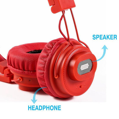NIA X5 Bluetooth Headphones - 40mm HD Drivers, FM Radio, SD Card Slot, Wireless Headphones-Red - Beewik-Shop.com