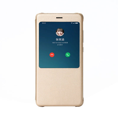Original Xiaomi Redmi Note 4X (3GB+32GB Version) Horizontal Flip Leather Case with Call Display ID & Sleep / Wake-up Function(Gold) - Beewik-Shop.com