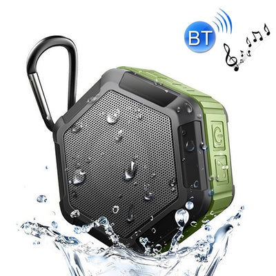 BT508 Portable Life Waterproof Bluetooth Stereo Speaker, with Built-in MIC & Hook, Support Hands-free Calls & TF Card & FM, Bluetooth Distance: 10m(Army Green) - Beewik-Shop.com