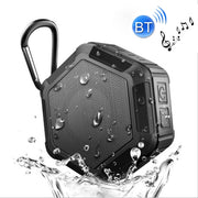 BT508 Portable Life Waterproof Bluetooth Stereo Speaker, with Built-in MIC & Hook, Support Hands-free Calls & TF Card & FM, Bluetooth Distance: 10m(Black) - Beewik-Shop.com
