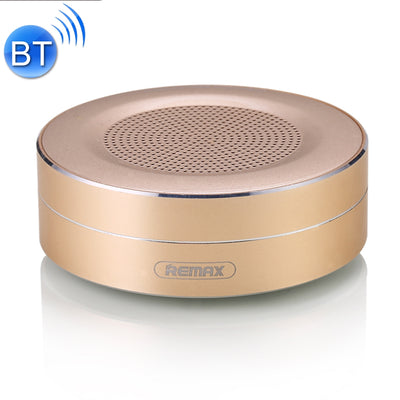 REMAX Portable Music Playback Metal Bluetooth Speaker, Built-in HD MIC, Support Hands-free Calls & TF Card & AUX IN, Bluetooth Distance: 10m(Gold) - Beewik-Shop.com